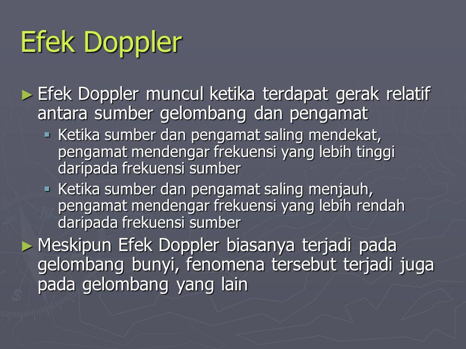 Efek Doppler Efek Doppler muncul ketika terdapat gerak relatif antara sumber gelombang dan pengamat.