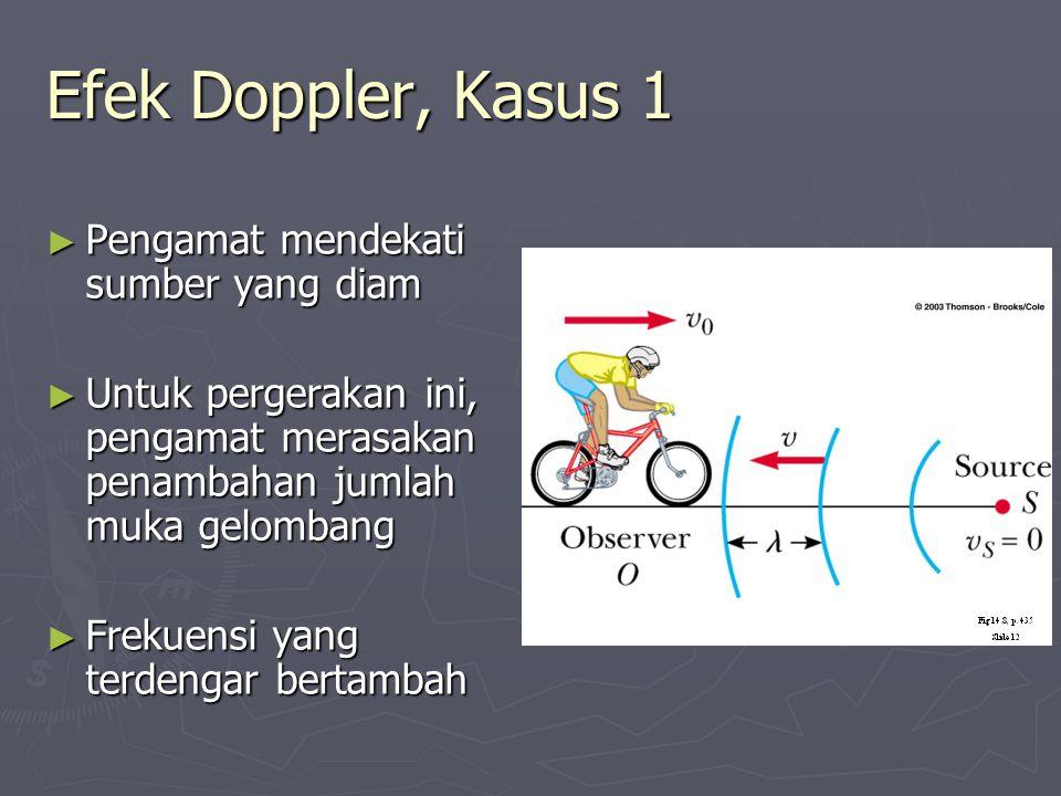 Efek Doppler, Kasus 1 Pengamat mendekati sumber yang diam