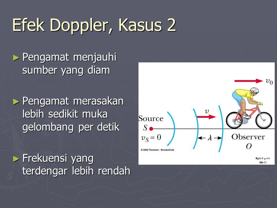 Efek Doppler, Kasus 2 Pengamat menjauhi sumber yang diam