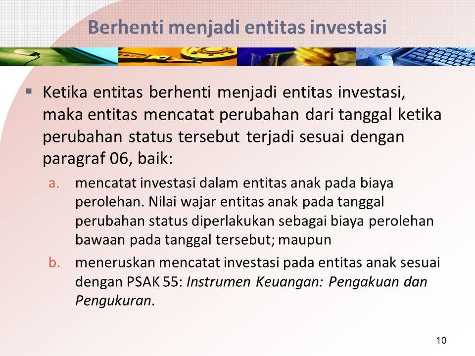 Berhenti menjadi entitas investasi