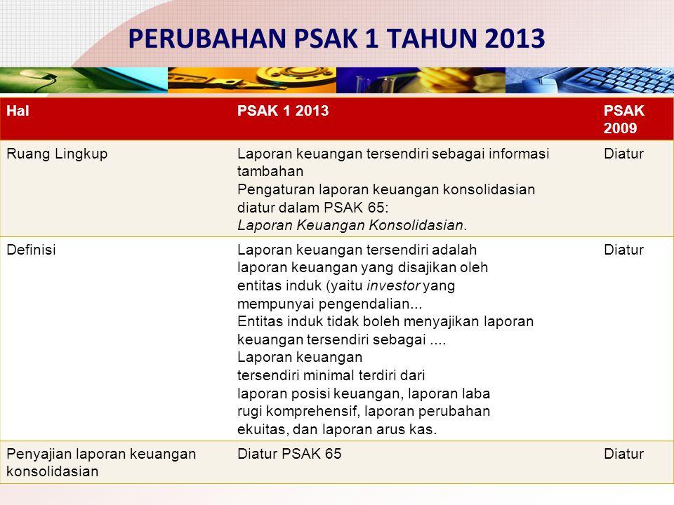 PERUBAHAN PSAK 1 TAHUN 2013 Hal PSAK 1 2013 PSAK 2009 Ruang Lingkup