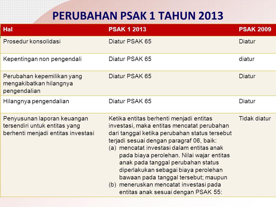 PERUBAHAN PSAK 1 TAHUN 2013 Hal PSAK 1 2013 PSAK 2009
