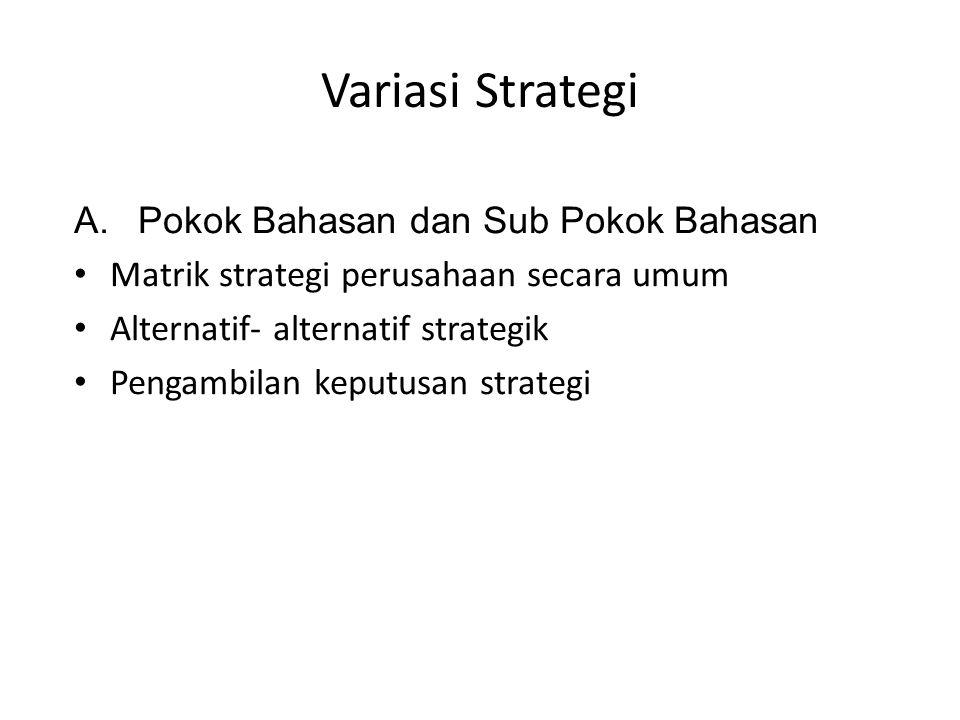 Variasi Strategi Pokok Bahasan dan Sub Pokok Bahasan