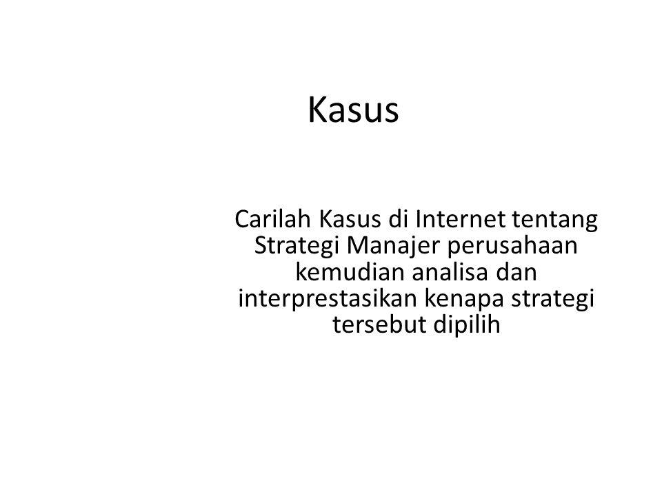 Kasus Carilah Kasus di Internet tentang Strategi Manajer perusahaan kemudian analisa dan interprestasikan kenapa strategi tersebut dipilih.