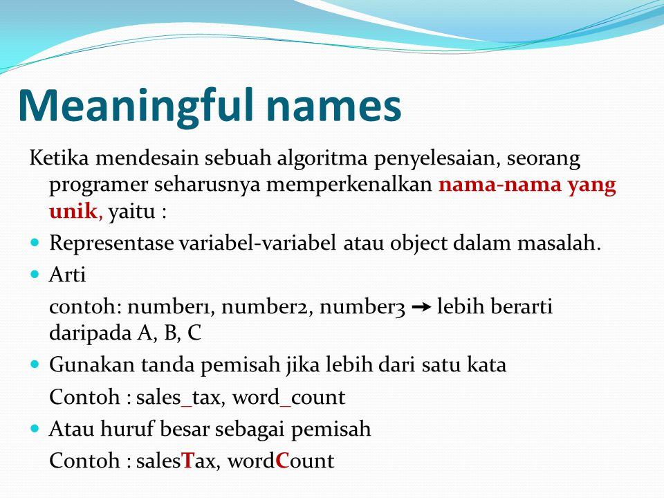Meaningful names Ketika mendesain sebuah algoritma penyelesaian, seorang programer seharusnya memperkenalkan nama-nama yang unik, yaitu :