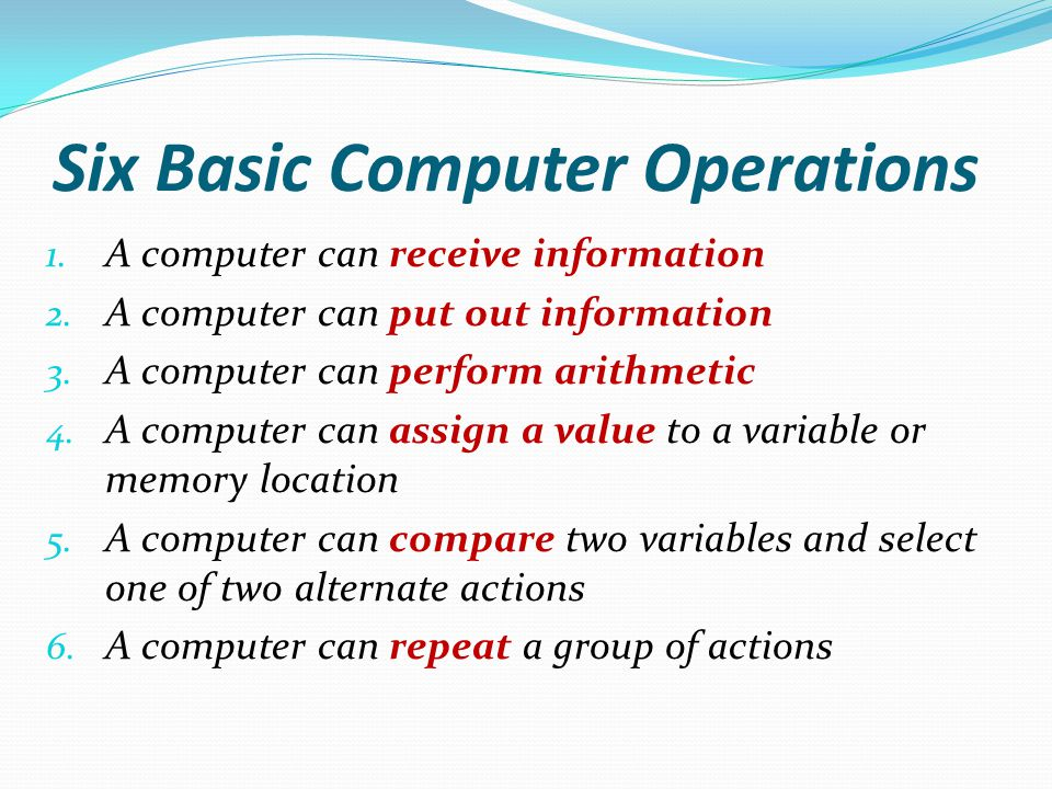 Six Basic Computer Operations