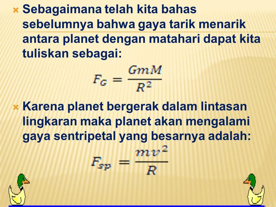 Sebagaimana telah kita bahas sebelumnya bahwa gaya tarik menarik antara planet dengan matahari dapat kita tuliskan sebagai: