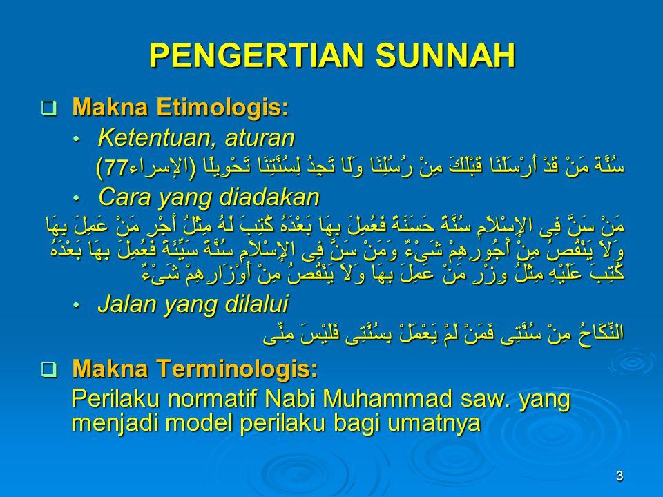 PENGERTIAN SUNNAH Makna Etimologis: Ketentuan, aturan