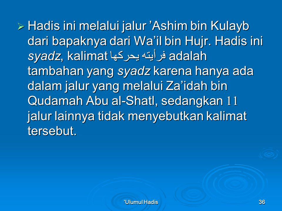 Hadis ini melalui jalur 'Ashim bin Kulayb dari bapaknya dari Wa'il bin Hujr. Hadis ini syadz, kalimat فرأيته يحركها adalah tambahan yang syadz karena hanya ada dalam jalur yang melalui Za'idah bin Qudamah Abu al-Shatl, sedangkan 11 jalur lainnya tidak menyebutkan kalimat tersebut.