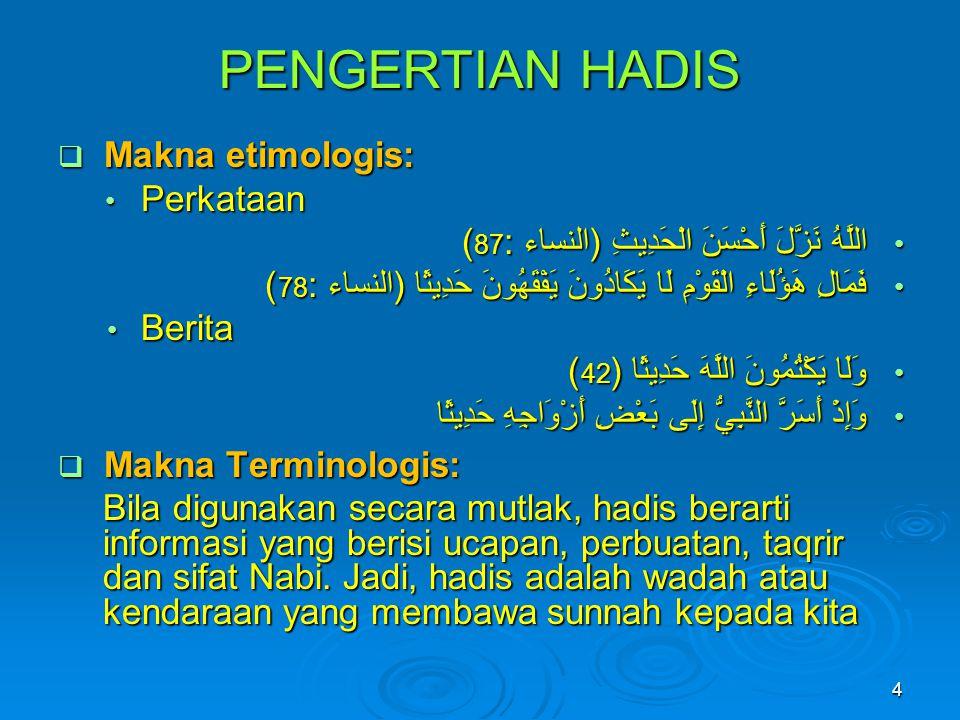 PENGERTIAN HADIS Makna etimologis: Perkataan