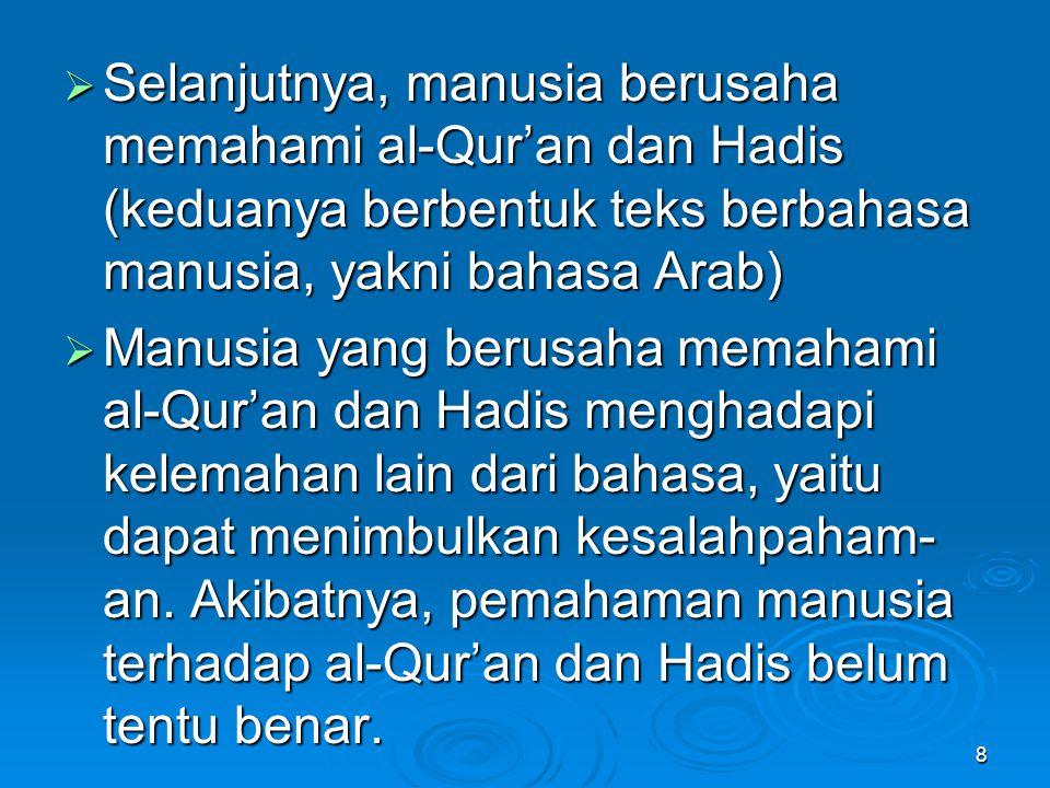 Selanjutnya, manusia berusaha memahami al-Qur'an dan Hadis (keduanya berbentuk teks berbahasa manusia, yakni bahasa Arab)