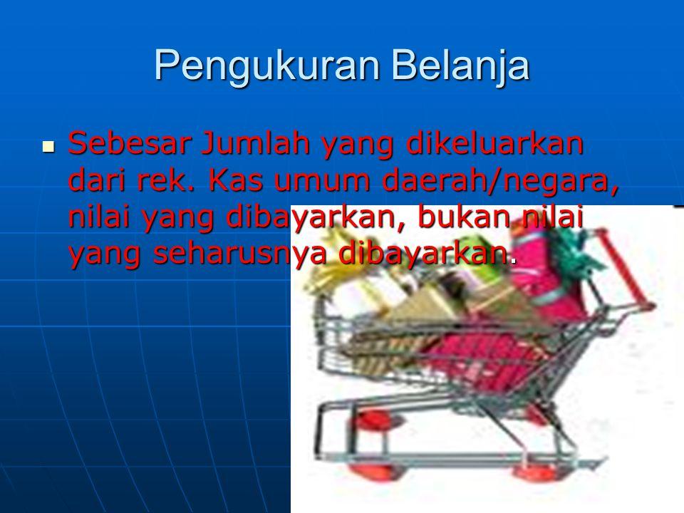 Pengukuran Belanja Sebesar Jumlah yang dikeluarkan dari rek.