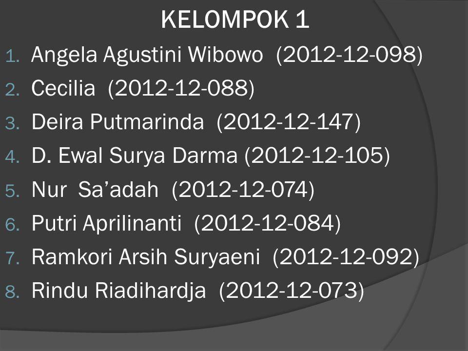 KELOMPOK 1 Angela Agustini Wibowo (2012-12-098) Cecilia (2012-12-088)