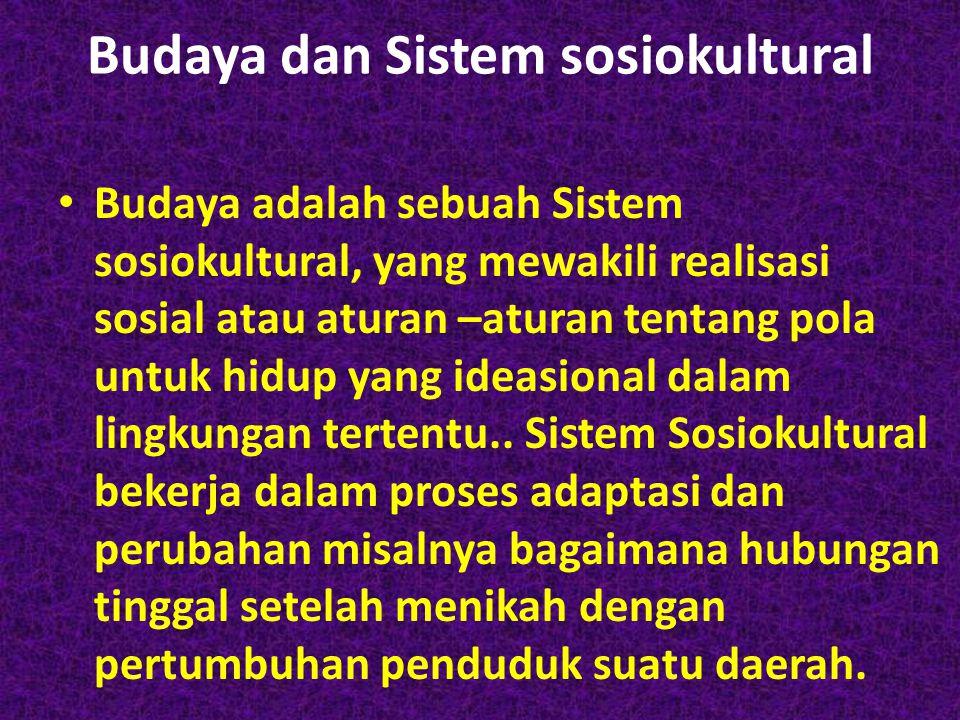 Budaya dan Sistem sosiokultural