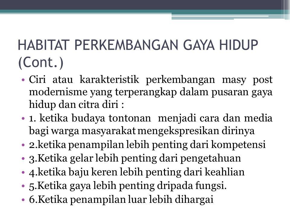 HABITAT PERKEMBANGAN GAYA HIDUP (Cont.)
