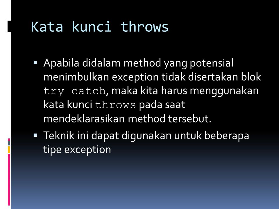 Kata kunci throws