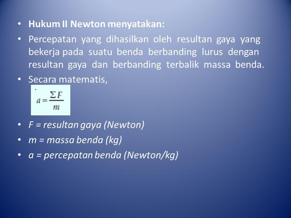Hukum II Newton menyatakan: