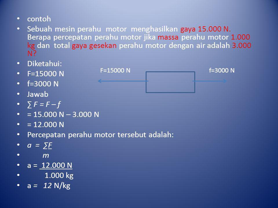 Percepatan perahu motor tersebut adalah: a = ∑F m a = 12.000 N