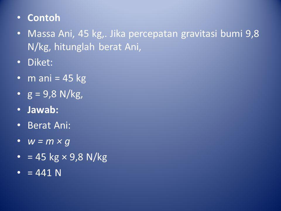 Contoh Massa Ani, 45 kg,. Jika percepatan gravitasi bumi 9,8 N/kg, hitunglah berat Ani, Diket: m ani = 45 kg.
