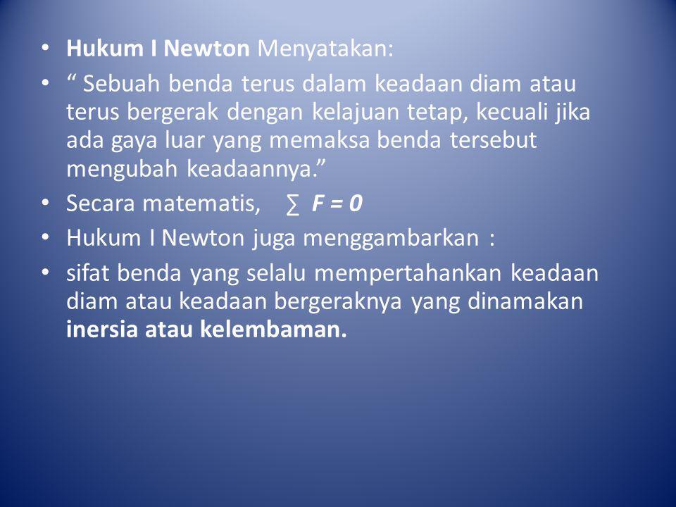 Hukum I Newton Menyatakan: