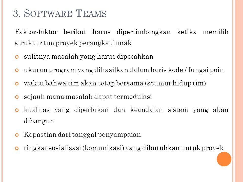 3. Software Teams Faktor-faktor berikut harus dipertimbangkan ketika memilih struktur tim proyek perangkat lunak.