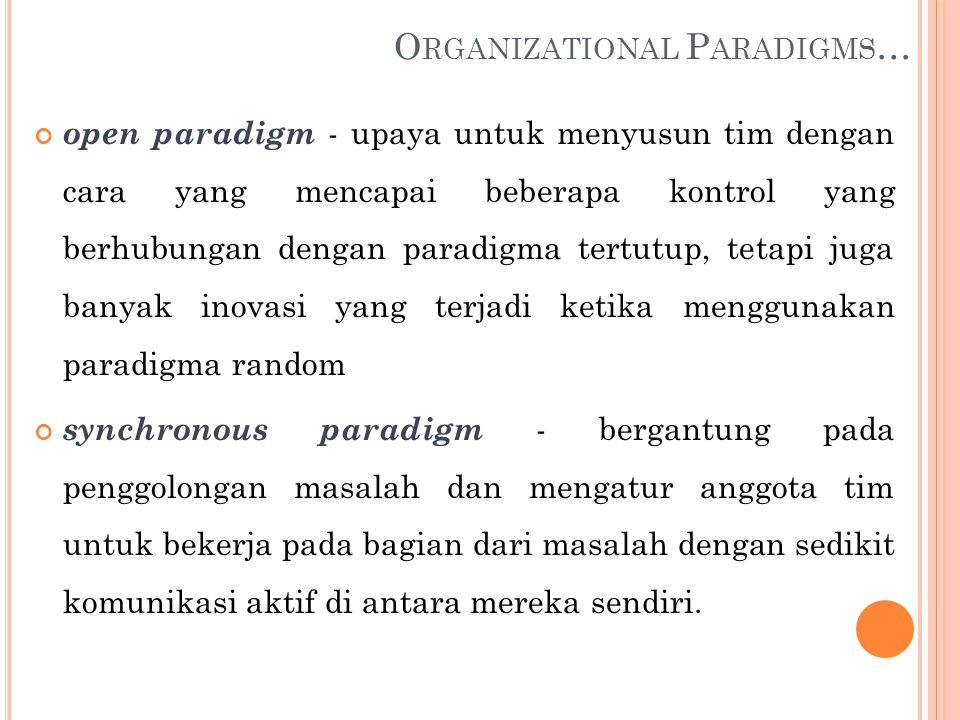 Organizational Paradigms…
