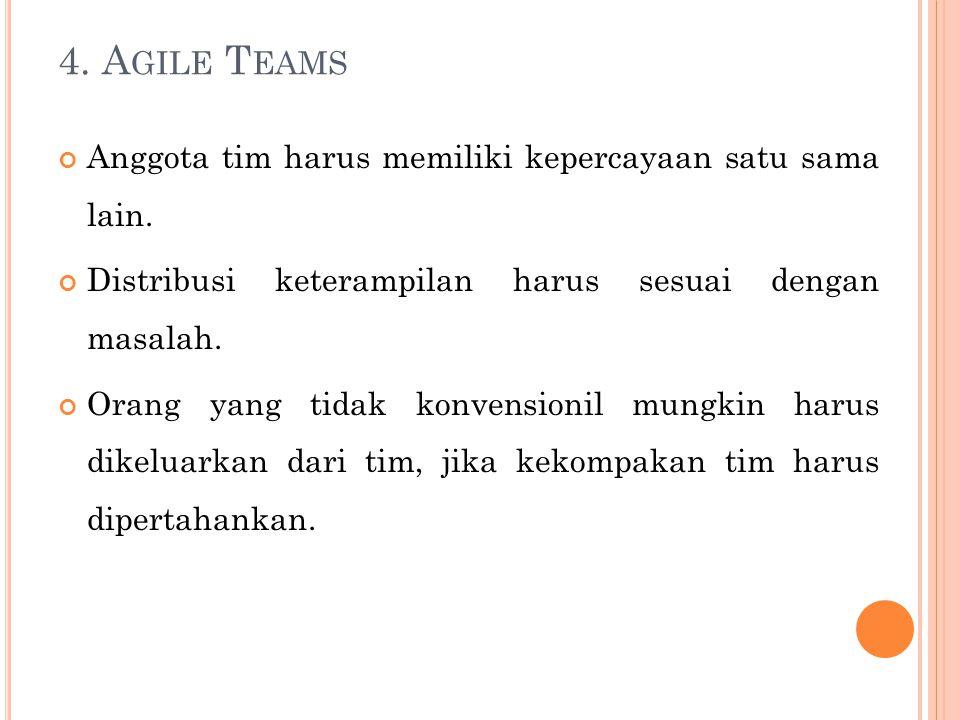 4. Agile Teams Anggota tim harus memiliki kepercayaan satu sama lain.