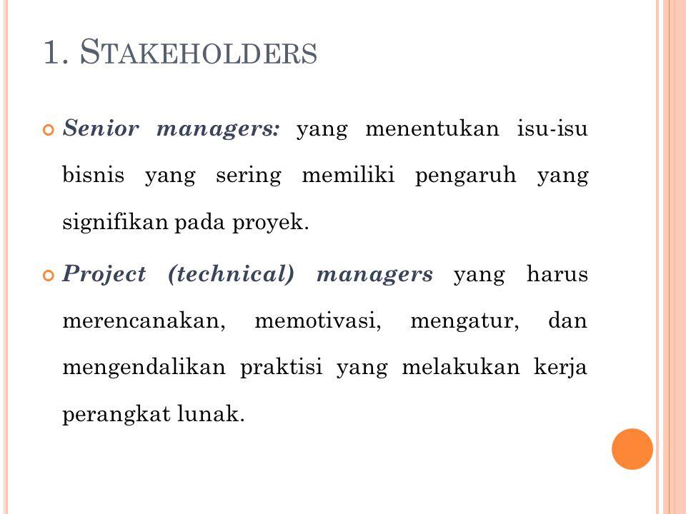 1. Stakeholders Senior managers: yang menentukan isu-isu bisnis yang sering memiliki pengaruh yang signifikan pada proyek.