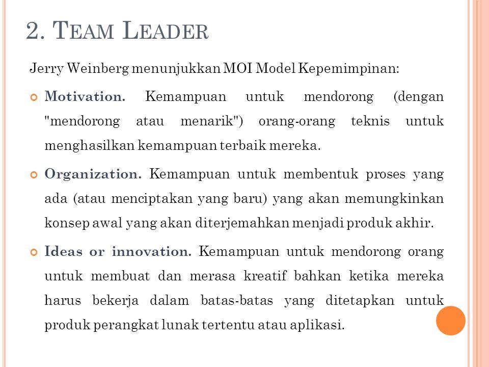2. Team Leader Jerry Weinberg menunjukkan MOI Model Kepemimpinan: