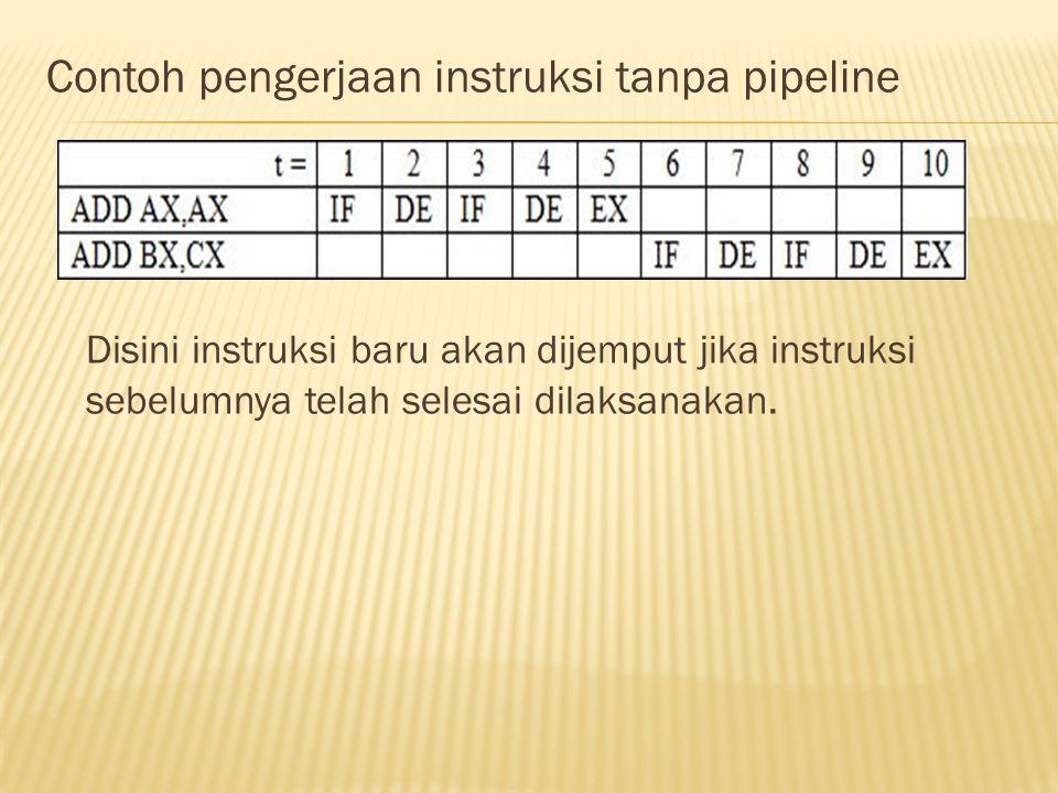 Contoh pengerjaan instruksi tanpa pipeline Disini instruksi baru akan dijemput jika instruksi sebelumnya telah selesai dilaksanakan.