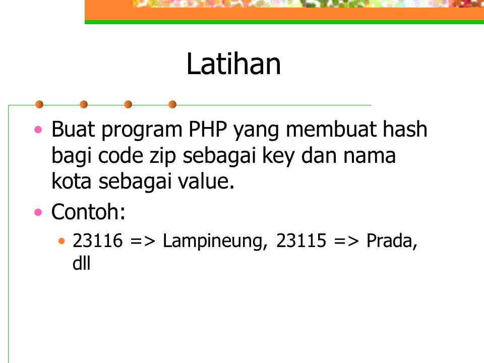 Latihan Buat program PHP yang membuat hash bagi code zip sebagai key dan nama kota sebagai value. Contoh: