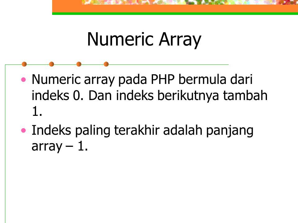 Numeric Array Numeric array pada PHP bermula dari indeks 0.