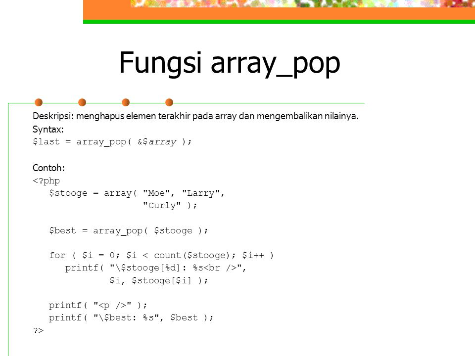 Fungsi array_pop