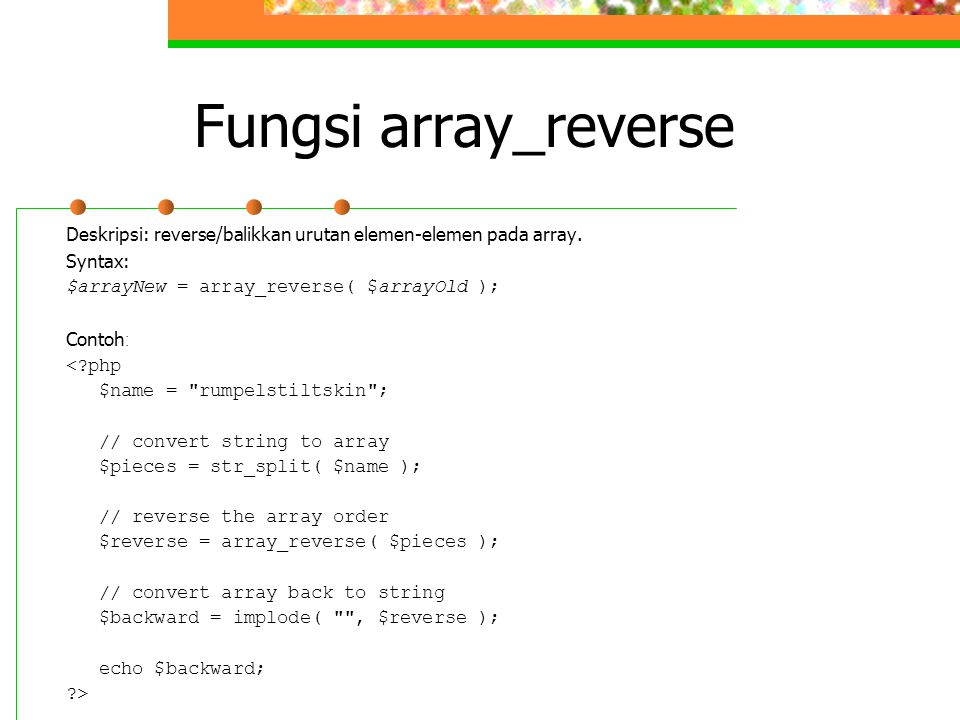 Fungsi array_reverse