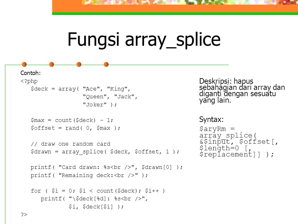Fungsi array_splice
