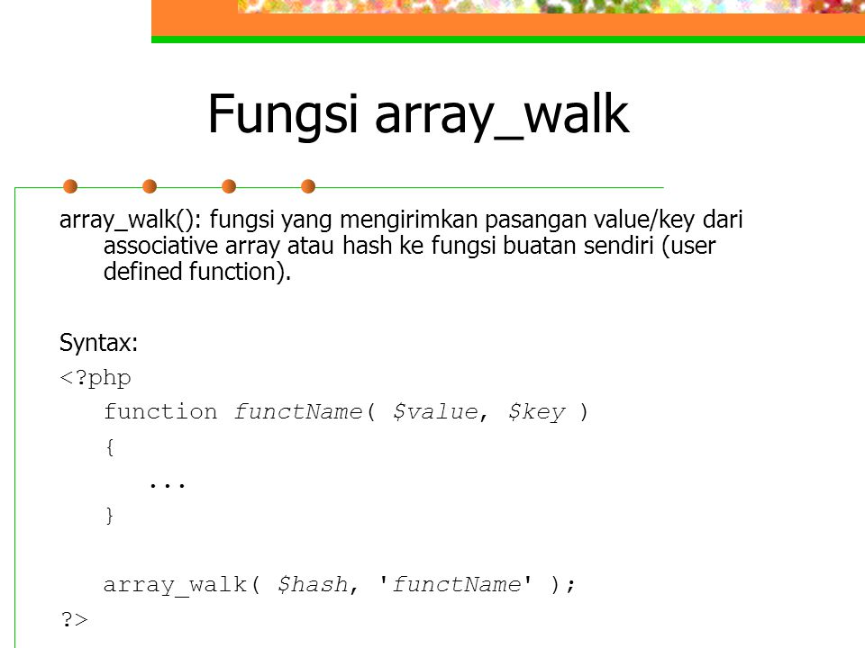 Fungsi array_walk