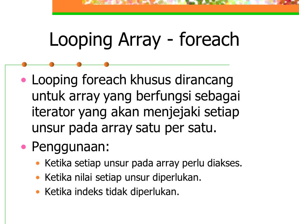Looping Array - foreach