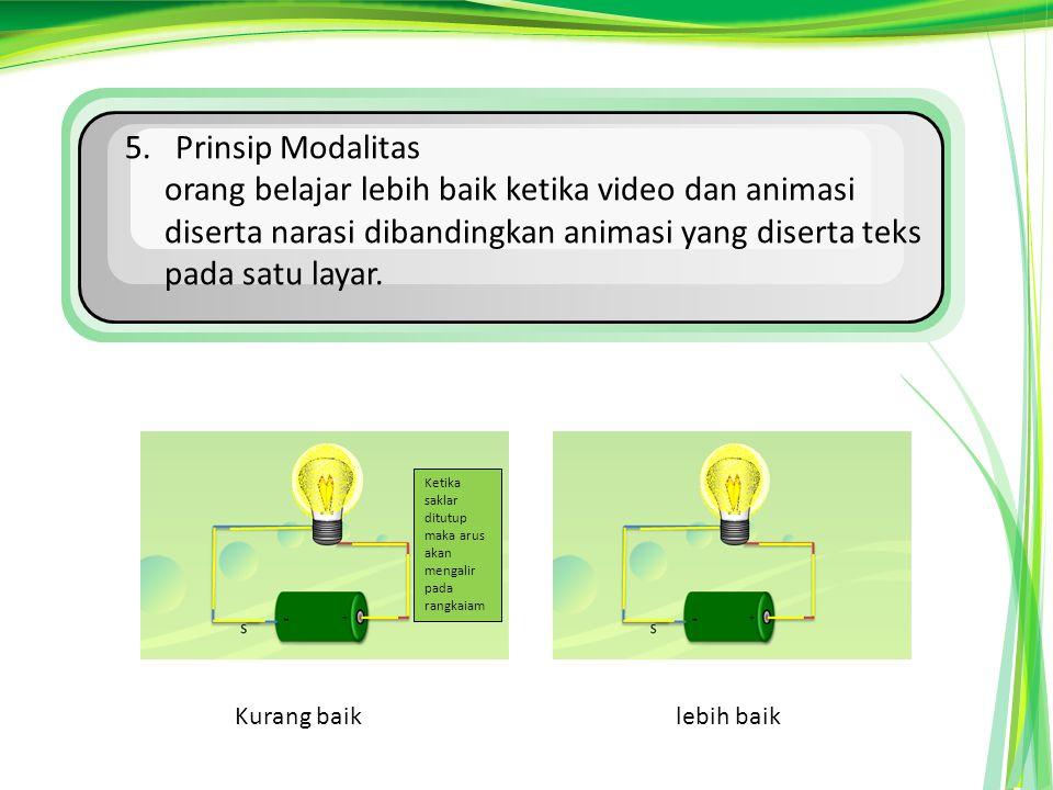 5. Prinsip Modalitas orang belajar lebih baik ketika video dan animasi diserta narasi dibandingkan animasi yang diserta teks pada satu layar.
