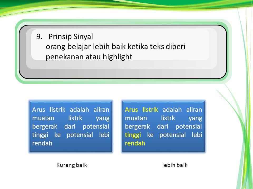 orang belajar lebih baik ketika teks diberi penekanan atau highlight