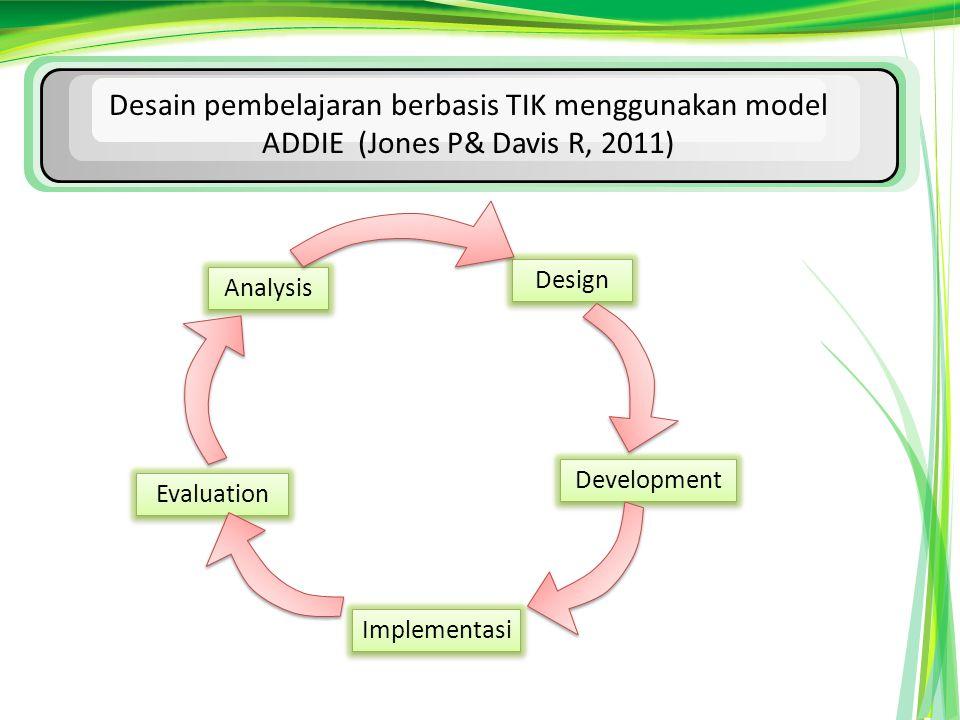 Desain pembelajaran berbasis TIK menggunakan model ADDIE (Jones P& Davis R, 2011)