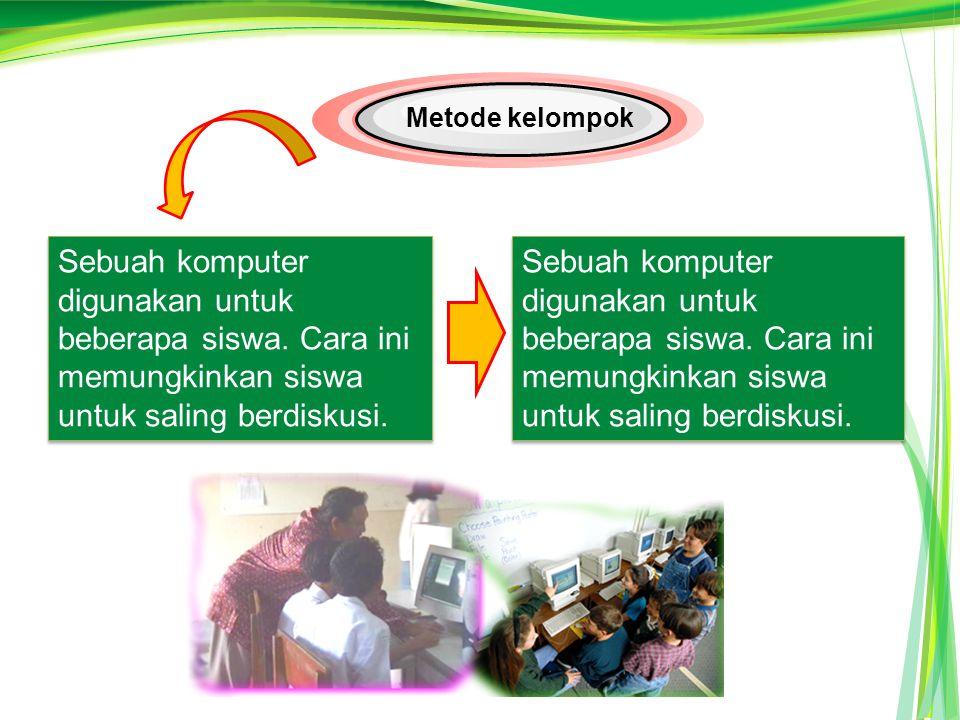Metode kelompok Sebuah komputer digunakan untuk beberapa siswa. Cara ini memungkinkan siswa untuk saling berdiskusi.