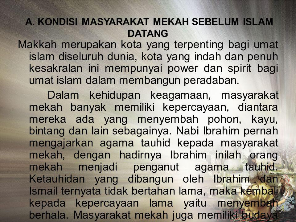 A. KONDISI MASYARAKAT MEKAH SEBELUM ISLAM DATANG