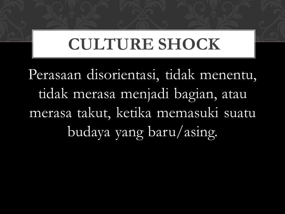 Culture shock Perasaan disorientasi, tidak menentu, tidak merasa menjadi bagian, atau merasa takut, ketika memasuki suatu budaya yang baru/asing.