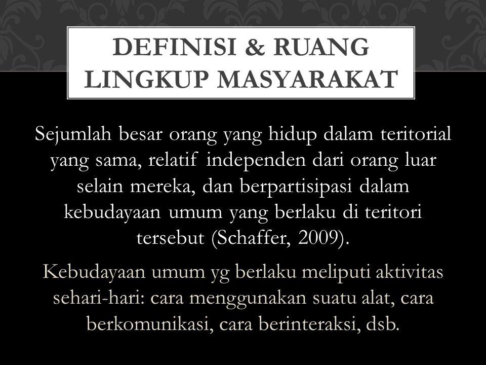DEFINISI & RUANG LINGKUP MASYARAKAT