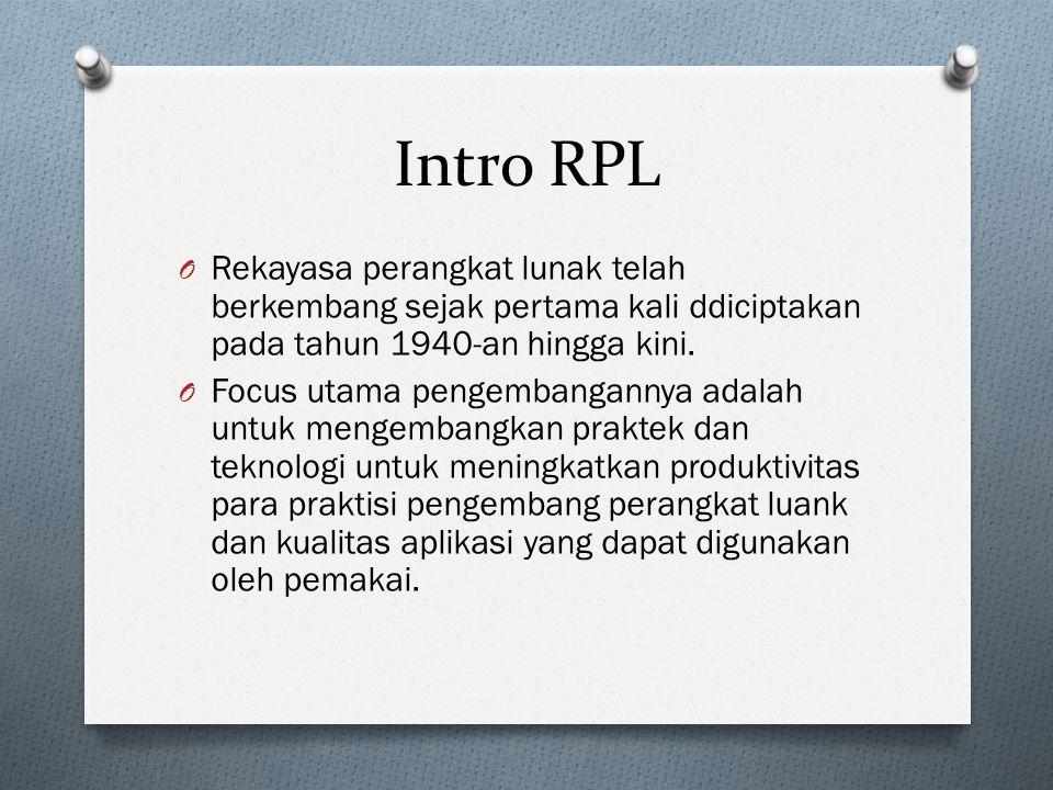 Intro RPL Rekayasa perangkat lunak telah berkembang sejak pertama kali ddiciptakan pada tahun 1940-an hingga kini.