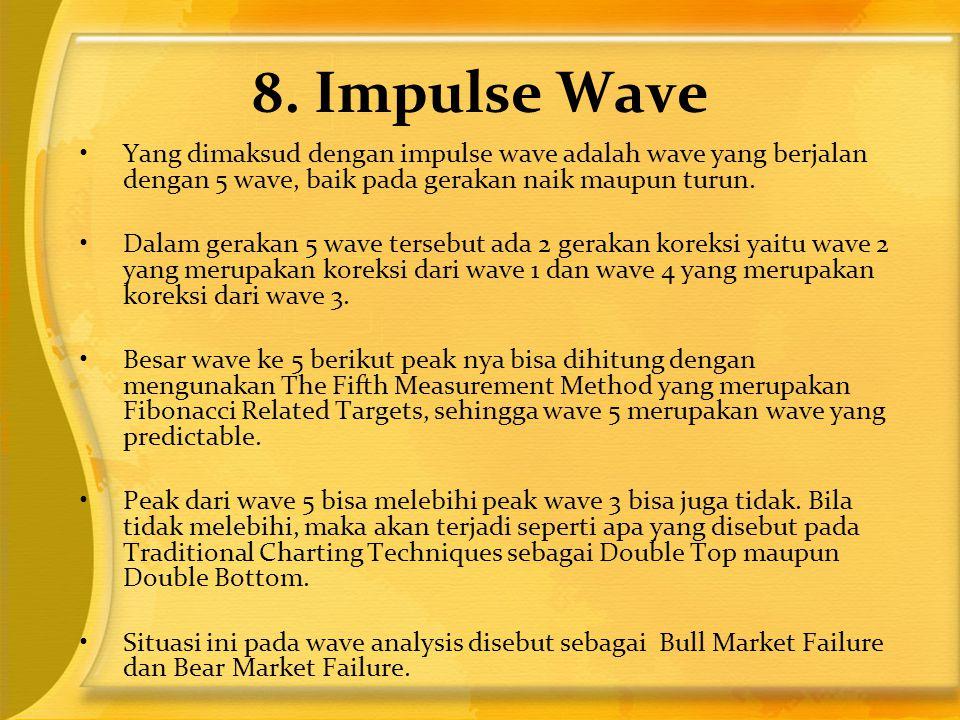 8. Impulse Wave Yang dimaksud dengan impulse wave adalah wave yang berjalan dengan 5 wave, baik pada gerakan naik maupun turun.