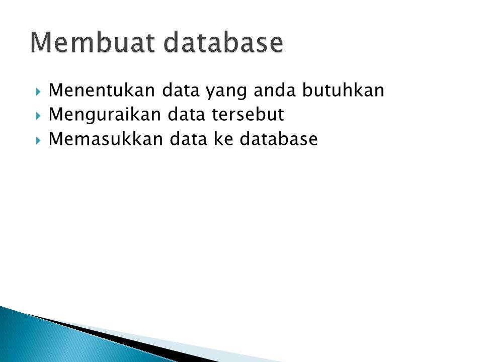 Membuat database Menentukan data yang anda butuhkan