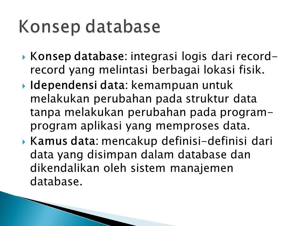 Konsep database Konsep database: integrasi logis dari record- record yang melintasi berbagai lokasi fisik.