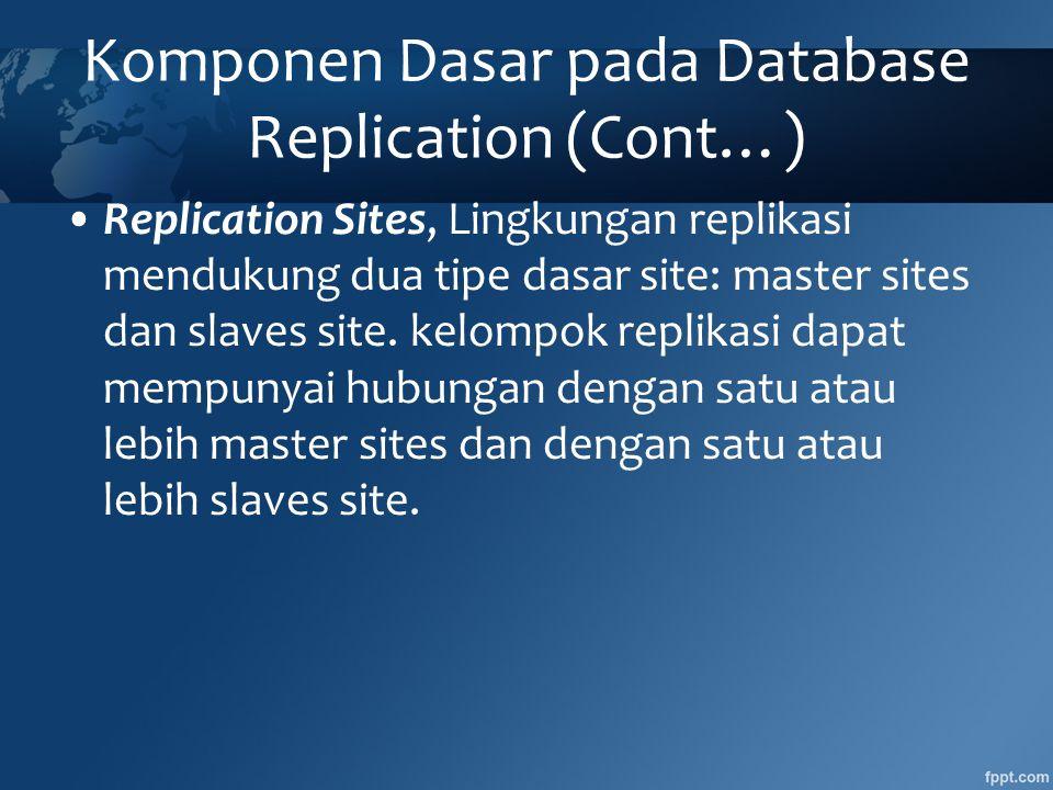 Komponen Dasar pada Database Replication (Cont…)