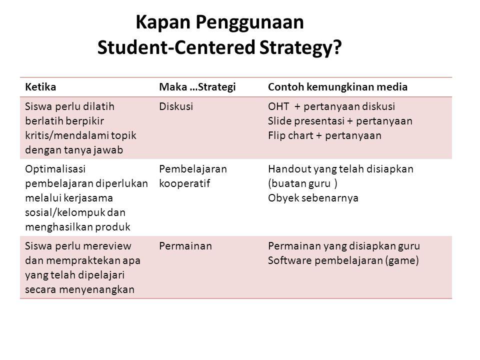 Kapan Penggunaan Student-Centered Strategy